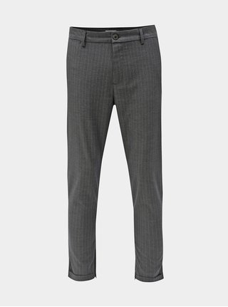 Pantaloni gri in dungi pana la glezne Selected Homme Alex