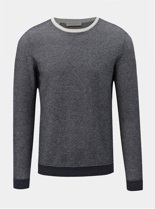 Modrý melírovaný sveter s prímesou vlny Selected Homme Bran