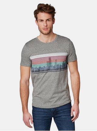 Šedé pánské žíhané tričko s potiskem Tom Tailor Denim  f1250c7e5e
