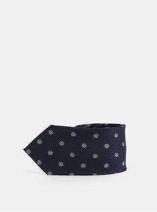 Tmavě modrá puntíkovaná hedvábná kravata Selected Homme Noah