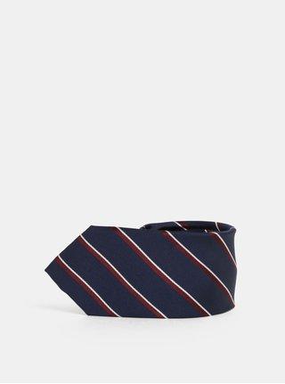 Cravata bordo-albastru in dungi din matase Selected Homme Noah
