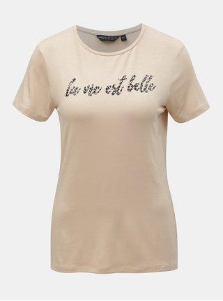 Béžové tričko s potlačou Dorothy Perkins