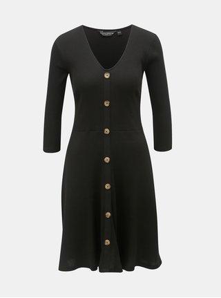 7def1a687d6 Černé žebrované šaty s ozdobnými knoflíky Dorothy Perkins