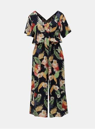 Tmavomodrý kvetovaný overal so zaväzovaním Dorothy Perkins
