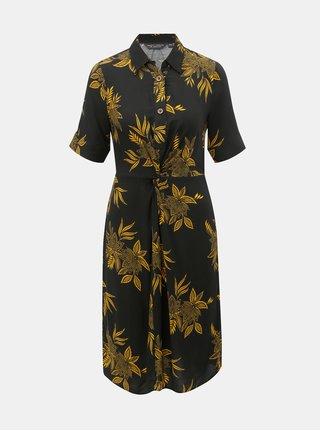 92ee2167276 Žluto-černé květované košilové šaty Dorothy Perkins