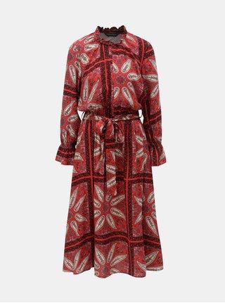 Červené vzorované midišaty Dorothy Perkins fdb708857e