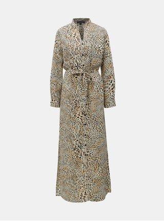 Čierno–béžové košeľové maxišaty s leopardím vzorom Dorothy Perkins 9488eacef3e