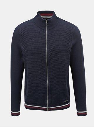 Pulover albastru inchis cu fermoar Burton Menswear London
