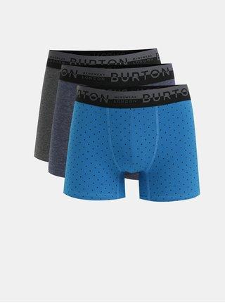 Set de 3 boxeri albastru si gri Burton Menswear London