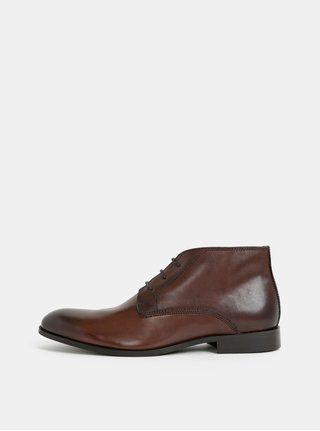 7eac68f2955 Tmavě hnědé pánské kožené kotníkové boty Burton Menswear London
