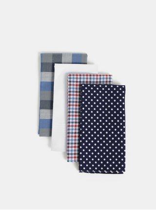Sada čtyř kapesníčků v modré a bílé barvě Burton Menswear London