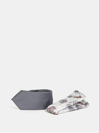 Sivá vzorovaná slim kravata s kvetovanou vreckovkou Burton Menswear London