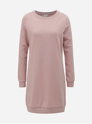Růžové mikinové šaty ONLY Mynte