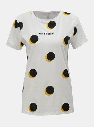 Biele bodkované tričko ONLY Dotti