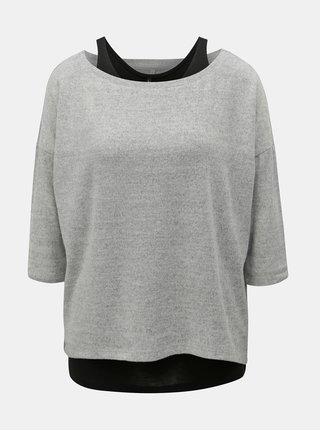 Sivý tenký melírovaný sveter s tielkom 2v1 ONLY Alberta
