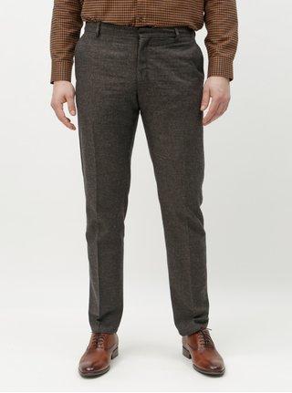 Tmavosivé melírované slim nohavice s prímesou vlny Selected Homme Damian