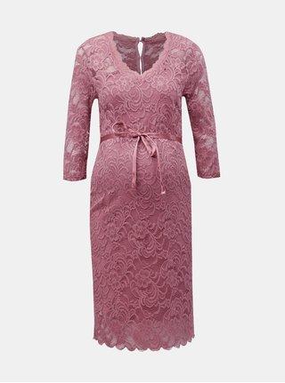 Ružové čipkované tehotenské šaty Mama.licious Mivana b6a6102e0fd
