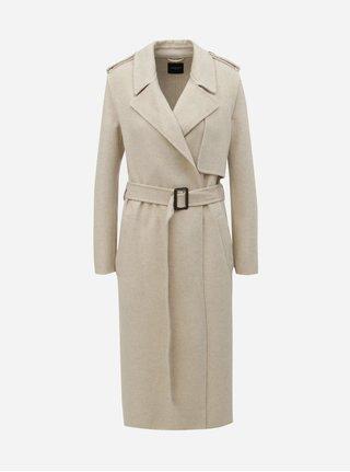 Béžový vlněný kabát Selected Femme Tana
