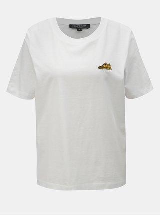 Biele tričko s výšivkou Selected Femme Chunky