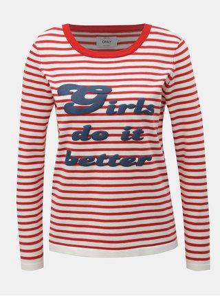 7927cf59618 Bílo-červený lehký pruhovaný svetr s potiskem ONLY Birk