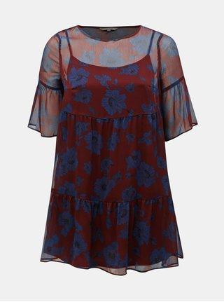 Modro–vínové kvetované šaty ONLY CARMACOMA Sympha