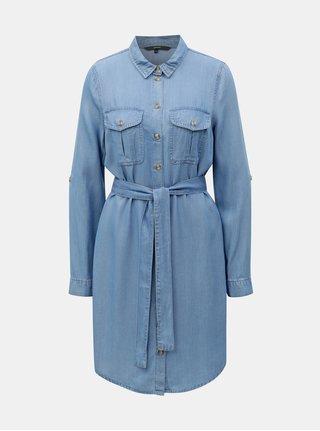 Modré rifľové košeľové šaty VERO MODA Mia