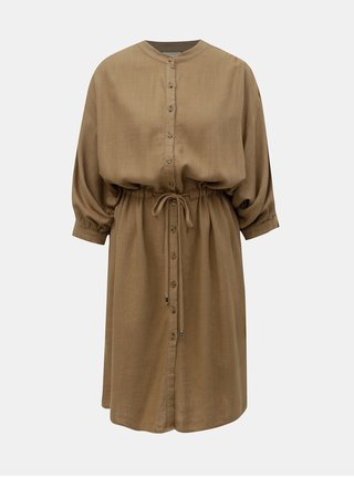 Hnedé ľanové oversize košeľové šaty VILA Linnan