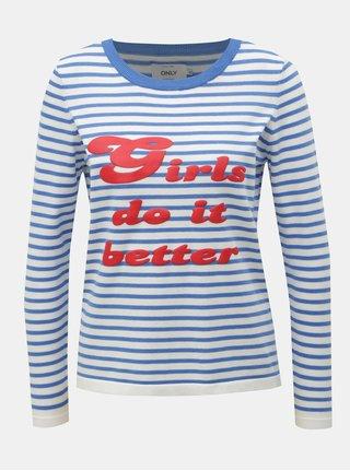 Bielo–modrý tenký pruhovaný sveter s potlačou ONLY Birk