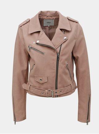 Jacheta biker roz prafuit din piele sintetica ONLY Geena