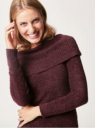 Tmavofialový sveter s golierom touch me.