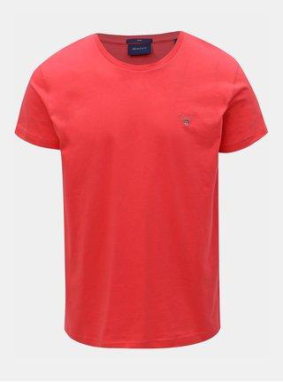 Tmavě růžové pánské slim tričko GANT