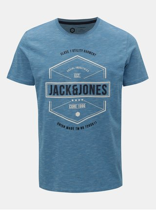 Modré žíhané tričko s potiskem Jack & Jones Fresco