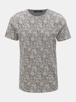 Tricou gri floral slim fit Jack & Jones Canton