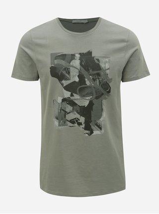 Tricou gri slim fit cu imprimeu Jack & Jones Mike