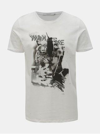 Bílé slim fit tričko s potiskem Jack & Jones Mike
