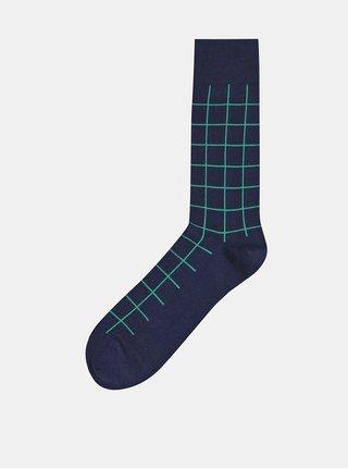 Tmavomodré kockované ponožky GANT