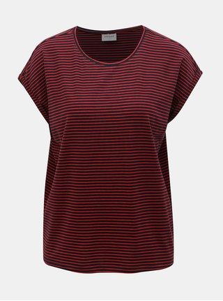 Červeno–modré pruhované basic tričko VERO MODA AWARE Mava