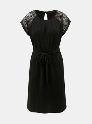 Čierne šaty s čipkovanými rukávmi VERO MODA Alberta