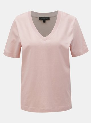 Svetloružové basic tričko Selected Femme Standard