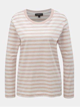 Bílo-růžové pruhované basic tričko Selected Femme Standard 9995db607d