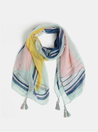 2de7804569e Růžovo-mentolový vzorovaný šátek Pieces Bolivia