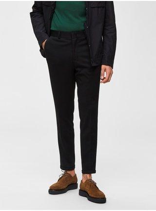 Čierne skrátené skinny fit nohavice Selected Homme Jersey