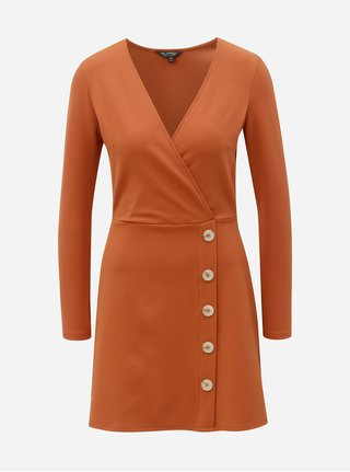 Tehlové rebrované šaty Miss Selfridge