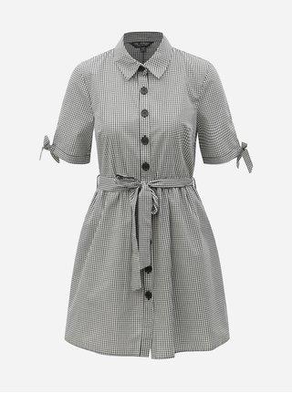 Bielo–čierne kockované košeľové šaty Miss Selfridge