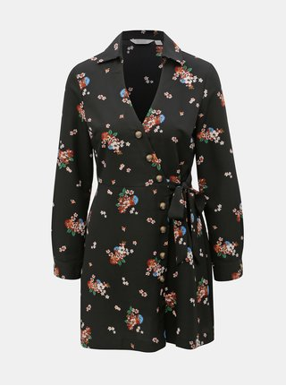 Černé květované zavinovací košilové šaty Miss Selfridge Petites