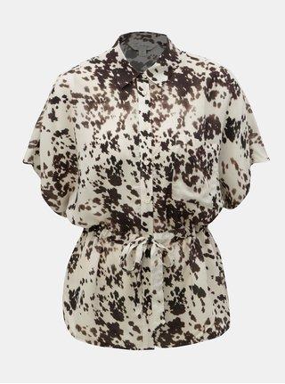 Hnedo–krémová vzorovaná blúzka Miss Selfridge