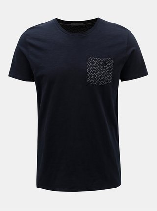 Tmavě modré tričko s náprsní kapsou Selected Homme Kristian
