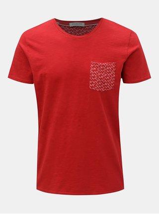 Červené tričko s náprsným vreckom Selected Homme Kristian 9b14b5cd37b