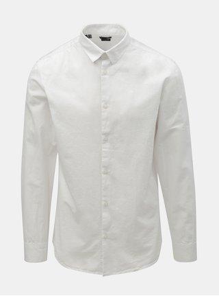 Biela slim fit košeľa s prímesou ľanu Selected Homme Linen