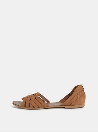 Hnědé kožené sandály Dorothy Perkins ce941e8026